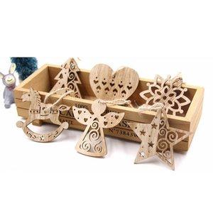 6PCS خشبي عيد الميلاد الديكور المعلقات معلق الحلي مع حبل معلق القلب، ندفة الثلج، نجمة، انجيل، شجرة، ركوب
