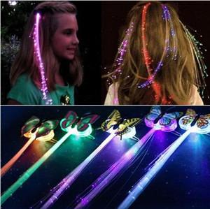 Presente de Natal LED Cabelo Brilho 7PCS LED Brilhante Braid flash Fiber clipe hairpin Luminous Borboleta Headband Partido LED luminescente