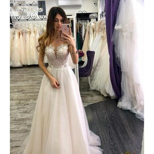Ivory Tulle Cap Sleeve Wedding Dresses Custom Made Lace Appliques V-Neck A-line Long Dress With Sweep Train Bridal Gown Vestido de noiva