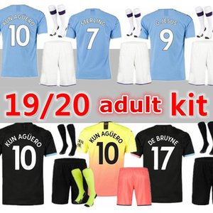 new men 19 20 Manchester Soccer Jerseys City 2019 2020 DE BRUYNE KUN AGUERO adult Kits STERLING Football Uniform G.JESUS shirt uniforms