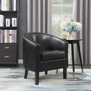 Modern Clube Chair Barrel Projeto Accent Faux Leather poltrona da sala, Preto