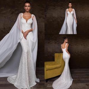 Роскошные Свадебные платья Русалка с кристаллами и съемными бретельками Милая блестками бисером молния назад Свадебные платья