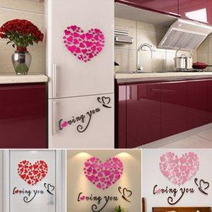 DIY 3D Mirror에 대한 세부 정보 Love Decor Quote 꽃 벽 스티커 데칼 Home Art Decor DIY 3D 거울에 대한 세부 정보 Love Decor Quote