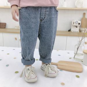 Herbst Junge Mädchen Mode 2 Farben Allgleiches beiläufige Jeans Kind Kinder lose Schule Denim pantsMX190916