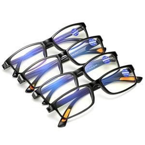 Qualitäts-Lesebrillen Presbyopic Brille Klarglas-Objektiv Unisex Randlos Anti-blaue Licht-Glas-Rahmen Stärke +1,0 +4,0