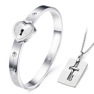 Fine Jewelry Set Skies-Контракт Циркон 316L Titanium стального замок ключ True Love Couple браслет Открытых браслеты кулон цепочка ожерелье