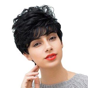 Femmes court bouclés perruque droite Pixie Cut Mignon réel perruque de cheveux humains avec Neat Bangs Natural Looking Balck