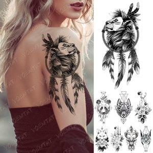 Waterproof Temporary Tattoo Sticker Geometric Line Wolf Panda Lion Flash Tattoos Deer Body Art Arm Fake Sleeve Tatoo Women Men