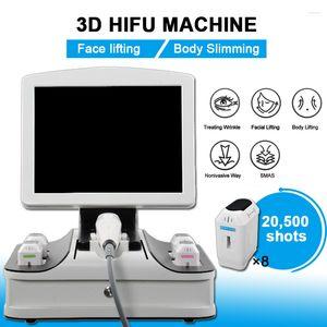 المحمولة HIFU 3D الوجه رفع تشديد معدات إزالة التجاعيد بالموجات فوق الصوتية 8 خراطيش 12 خطوط 20000 لقطات 3D HIFU