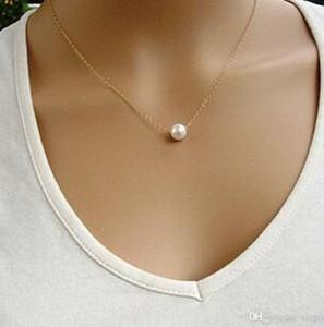 Collier simple Imiter perle déclaration de mode Chaînes Clavicule Collier pour femmes Bijoux 2Color or et l'argent bon marché en gros