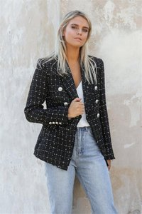 Designer Giacchette Autunno Slim risvolto maniche lunghe Doppio Petto donna sportive casuali a strisce femminile vestiti stampati