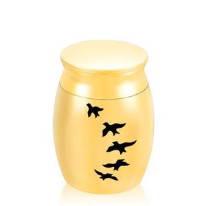Cinco pássaros gravado liga de alumínio Mini Memorial Caixão Jóias Funeral urna de cremação para Humano / Pet Ashes30x40mm