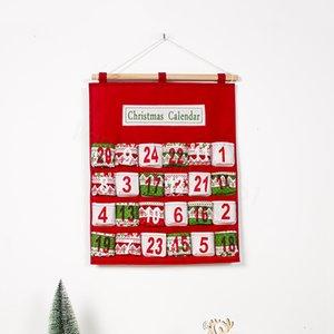 Advent rouge de Noël Calendrier éponte Ornement d'impression Candy Bag Compte à rebours Entrée Sacs cadeaux Décoration Props FFA3245