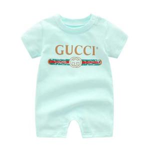 2019 bebê macacão de manga curta meninos e meninas bebê verão seção fina impressão haber recém-nascido terno de rastreamento