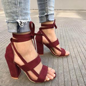 Las zapatillas de Venta-verano 2018 sandalias de las mujeres del tacón alto del gladiador Cruz-atadas con cordones ocasional del tobillo sandalias de la boca de pescado correa W532