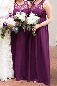 На складе Дешевые винограда Фиолетовый шифон невесты платье Vintage шифон Ruched Формальные Пром платье Длинные свадебные платья для гостей CPS614