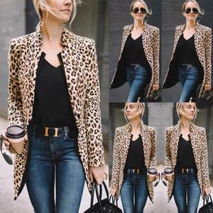 Sıcak Moda Bayan Uzun ceketler Coat Leopard Lady Motosiklet Kabanlar Coat Suit Leopard Coat Tops Soğuk