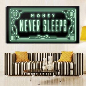 Imprimir dinheiro Never Sleep HD Canvas Cotações nórdicos Carta dinheiro Art casa decoração pintura de parede arte cópia na lona cultura de escritório arte