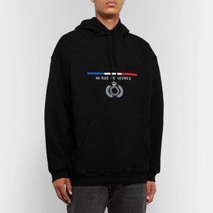 19FW Klasik Paris Bayrak Taç Nakış Kapşonlu Sweatshirt Erkekler Kadınlar Sokak Kazak Kapüşonlular Sonbahar Kış Triko Dış Giyim HFYMWY284