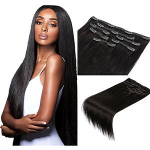 Шелковистый прямой клип в наращивание волос черный коричневый светлый цвет наращивание человеческих волос клип на утки волос 100 г