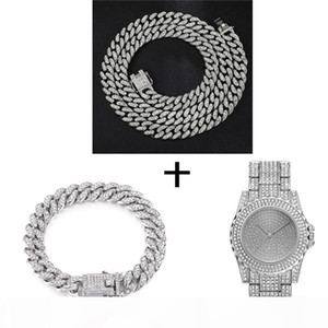 wholesale Hop Silver Necklace +Watch+Bracelet Iced Out Paved Rhinestones Miami Curb Cuban Chain Gold CZ Bling Rapper For Men Jewelry