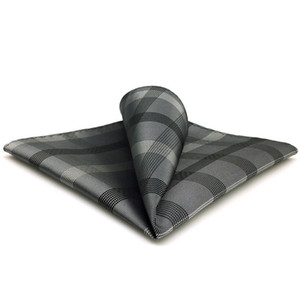 MH1 Mendil Kareli Siyah Koyu Gri Hanky Erkek Kravat Cep Kare Suit Hediye İşaretli