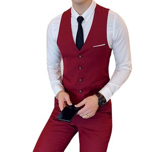 Suit vest groomsman Slim V-neck sleeveless single-breasted boutique groom dress banquet high-end suit vest male Plus size S-6XL