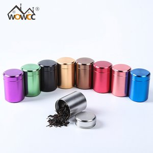 Wowcc Tea Caddy Mini Aluminum Storage Boxes Sealed Coffee Powder Cans Tea Leaves Container Portable Travel Tea Caddy Organizer C19032701
