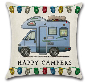 Happy Campers Pillow Case 45*45cm Touring Car Pillowcase Throw Linen Cushion Cover Home Cafe Office Decor Gift GGA3233
