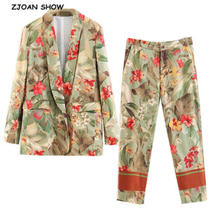 2020 New Spring Green Leaves Red Flower Print Blazer High Waist Small Straight Pants Women Long Sleeve Suits 2 Pieces Set