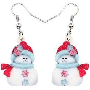 Акриловое Рождество Снеговик украшение серьга падения мотаться украшение украшения для женщин девочек подростков Navidad Аксессуары Нового