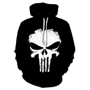 Punisher Толстовки Женщины Мужчины 3D фуфайки Halloween Superhero пуловер Новизна Tracksuit моды с капюшоном Streetwear Осень Повседневная куртка