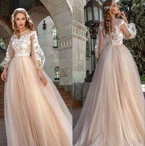 Champagne élégante Tulle A-ligne robes de mariée 2020 Lanterne manches dentelle Applique Bohomia mariage Robes de mariée Robe De Novia BM1629