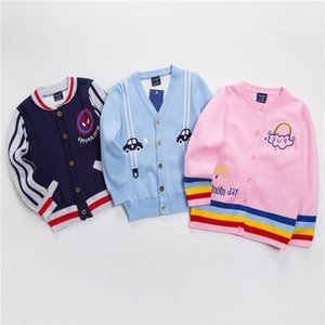 Children Button Cardigan CHILDREN'S Sweater 19 Autumn And Winter New Style Men And Women Children's Cartoon Cotton Thread Cardig