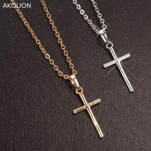 AKOLION 2017 Hot Sale Silver Cross Colares pingente jóia colar Mulheres 925 colar atacado