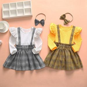 INS bambini Ragazze Set di abbigliamento a maniche lunghe Ruffles T shirt + Suspender Skirt + Headband Set di abbigliamento Primavera Autunno a maniche lunghe che coprono gli insiemi