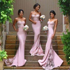 Blush Pink Strap Bridesmaid Dresses Spaghetti Sleeveless Mermaid Lace Junior Country Bridesmaid Dresses Long Maid Of Honor Dresses