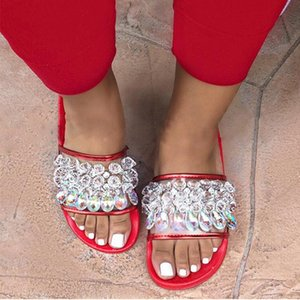 Crystal Fashion Chinelos Mulheres Bling plana Casual Ladies Jelly Shoes Rhinestone Praia Verão Glitter fêmeas Slides transparentes