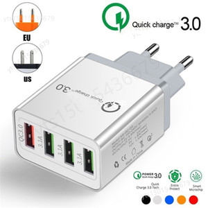 NEW Wall Charge QC 3.0 Fast charger 4 Ports USB Wall Charger Adapter OEM EU   US   UK Plug for Smartphone Android and iOS Samsung S10