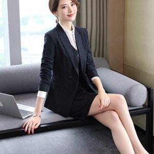 Biçimsel Üniforma kadınlar Blazers takım elbise Tops ve Etek için Bayanlar Ofisi Work ile İki Adet Profesyonel şerit Blazer Giyim Setler