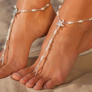 Ladies Starfish Tornozeleiras Moda Boho Pérola Pé Jóias tornozeleira de contas de cadeia Barefoot Sandals nupcial jóia do casamento