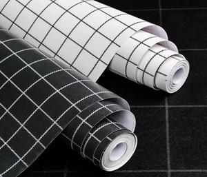 45cmx10m Basit Klasik Siyah Ve Beyaz Kendini yapışma kağıdı Kumaş Ekose Wallpaper Tv Arkaplan Giyim Mağazası Cafe Duvar kağıdı Yatak odası