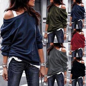 hoodies women pullovers sexy off shoulder female tshrits tops long sleeve solid top sweatshirt