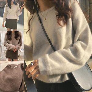 Nouveau ATTYYWS cachemire col rond chandail pull femme occasionnels lâche creux de la vague laine tricotée régulière de couleur unie