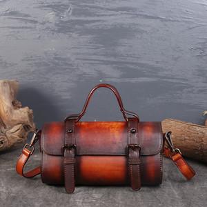 Nueva primera capa de bolso de hombro de cuero de la bolsa de mensajero retro Rub color cuero curtido vegetal bolsa de cuero