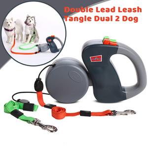 Walk Two Dogs Leash Nylon Double Dual Two Pets Dogs Leash 2 Way Coupler Walk Necklace Collars Harnesses Leads Pet Supplies