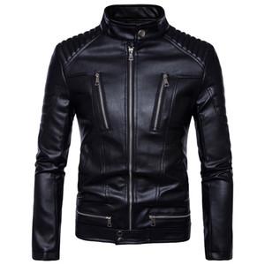 Moda-nd erkek faux kürk palto giyim moda pilot motosiklet ithal pp kafatası deri ceket erkekler slim fit B013