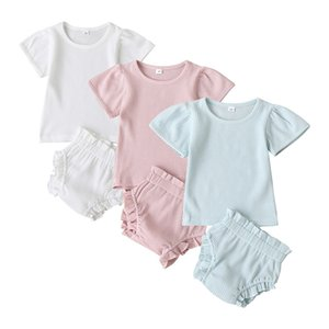 Baby Article Pit Clothing Sets Short Sleeve T-shirts Top + Ruffled PP Short Pants 2pcs set Boutique Clothes Baby Solid Outfits 0-2T M2197