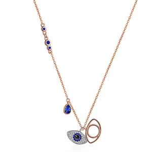 قلادة الأزرق عين الشر قلادة القلائد المرأة روز الذهب شيطان العين سحر مجوهرات الأزياء هدية