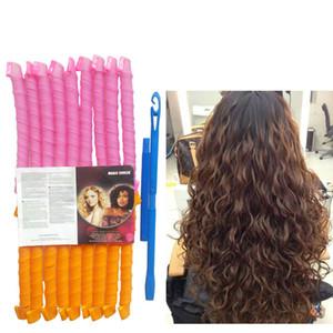 18 pz 65 cm 2.5 onda di acqua bigodini magici former leva spirale Strumento di parrucchiere con 1 ganci per extra capelli lunghi 25 pollice